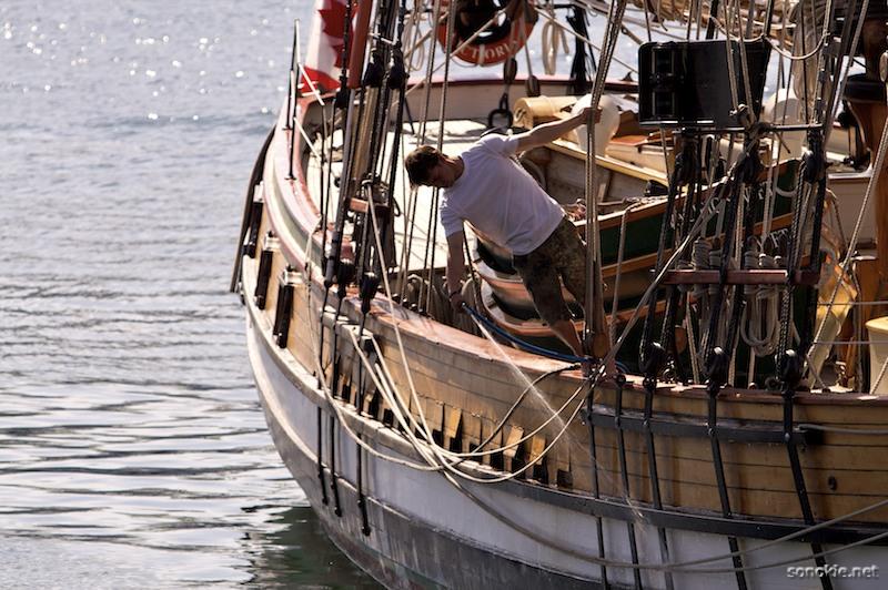 washing the boat