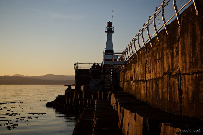 sunset at the breakwater