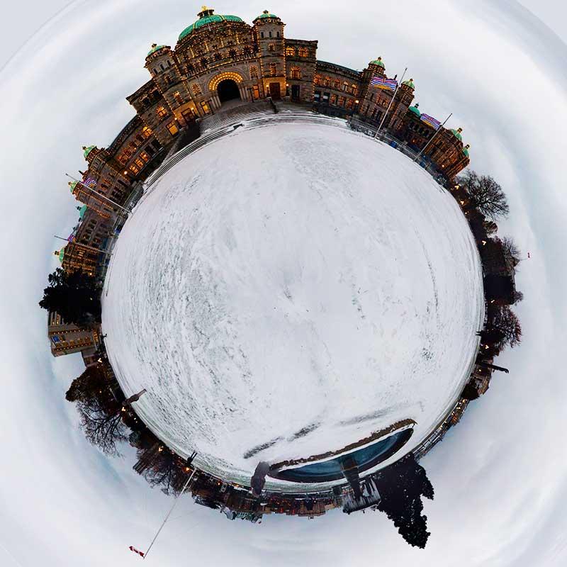 snowy parliament panorama