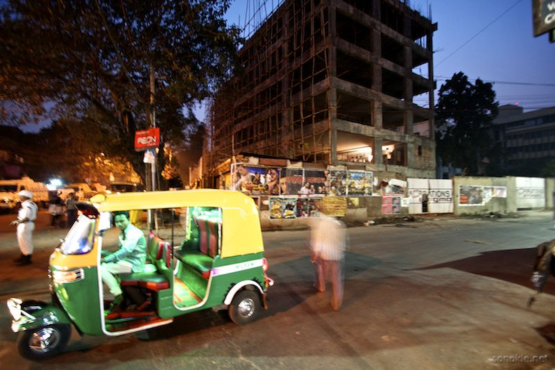 rickshaw at night